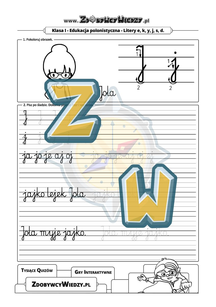 Zdobywcy Wiedzy - karta pracy pdf - Nauka pisania literek łatwa jak nigdy wcześniej (strona 1)