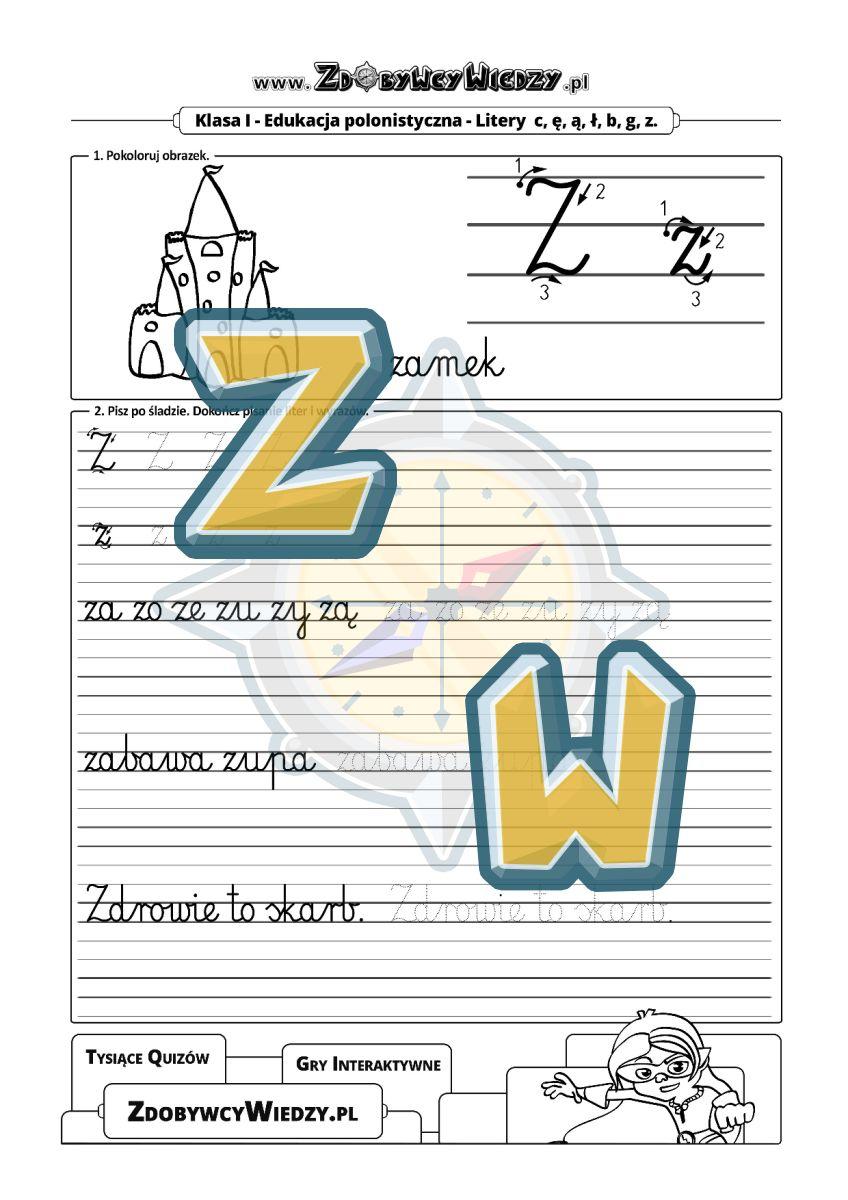 Zdobywcy Wiedzy - karta pracy pdf - Arkusz do wykorzystania w nauce pisania litery Z (strona 1)