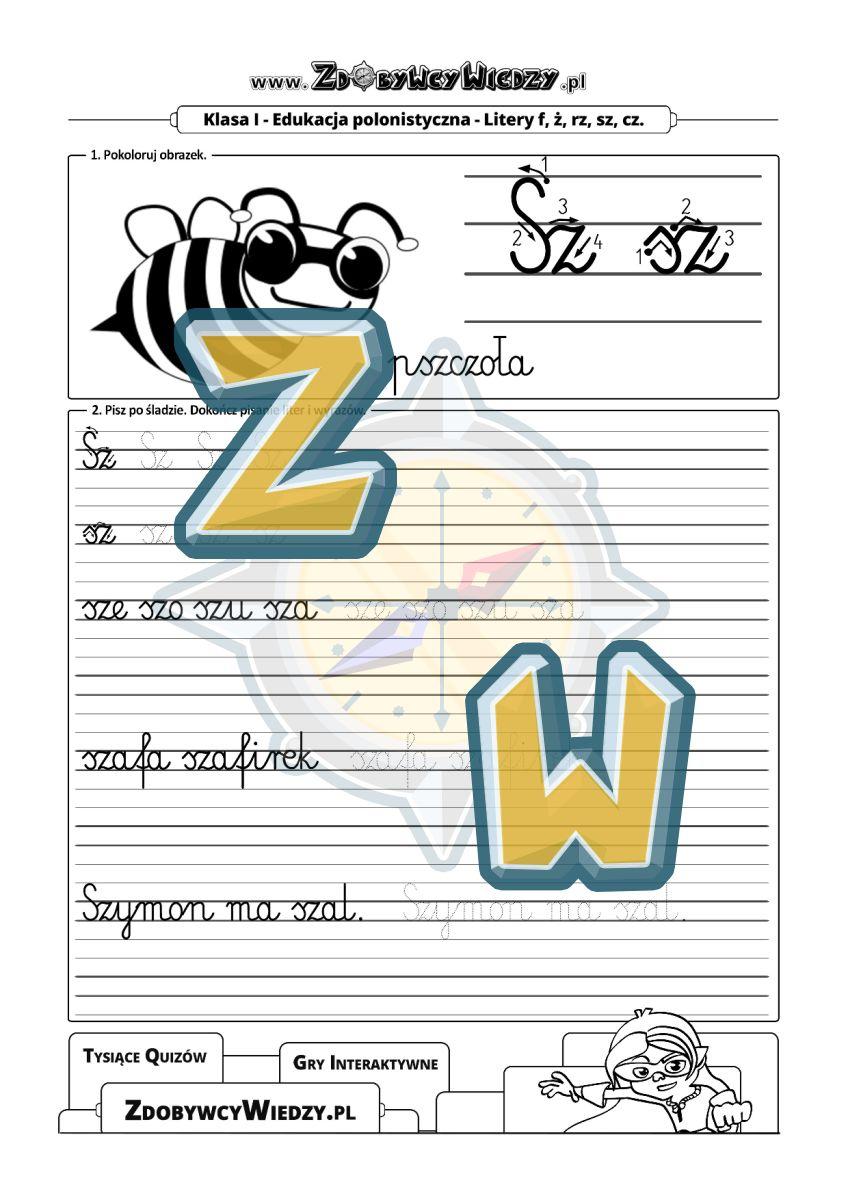 Zdobywcy Wiedzy - karta pracy pdf - Nauka ręcznego pisania w liniaturze - litera sz-Sz (strona 1)