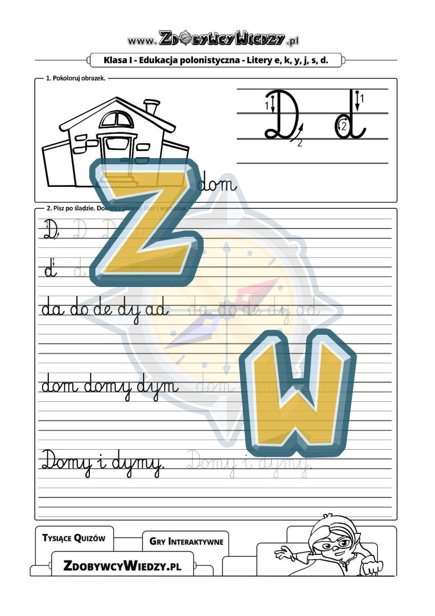 Zdobywcy Wiedzy - karta pracy pdf - Pisanie litery