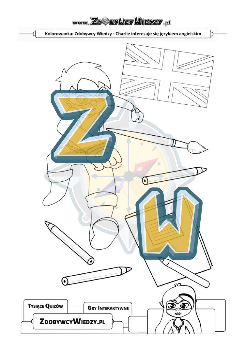 Zdobywcy Wiedzy - karta pracy pdf - Kolorowanka, która ucieszy małych miłośników języka angielskiego (strona 1)