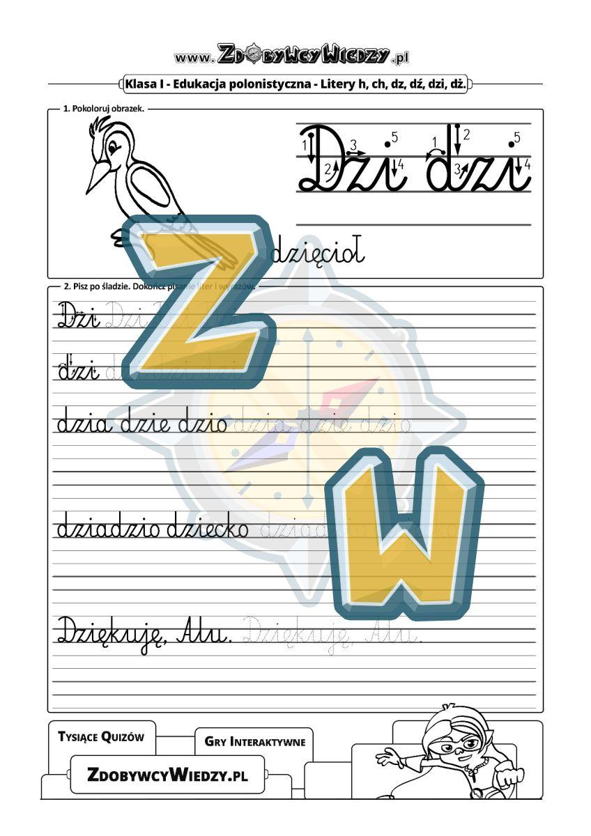 Zdobywcy Wiedzy - karta pracy pdf - Nauka pisania literek do pobrania i wydruku w formacie PDF (strona 1)