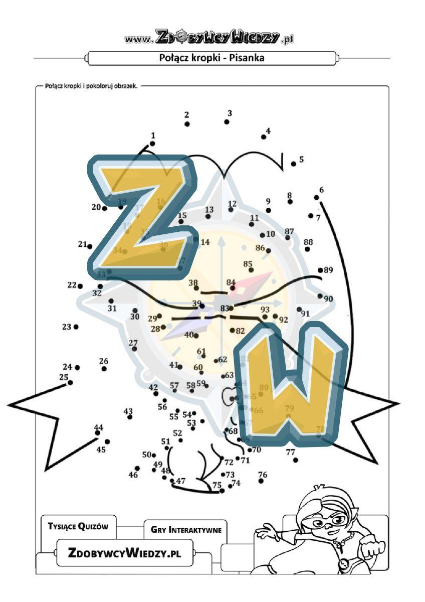 Zdobywcy Wiedzy - karta pracy pdf - Narysuj na karcie pracy pisankę wielkanocną! (strona 1)