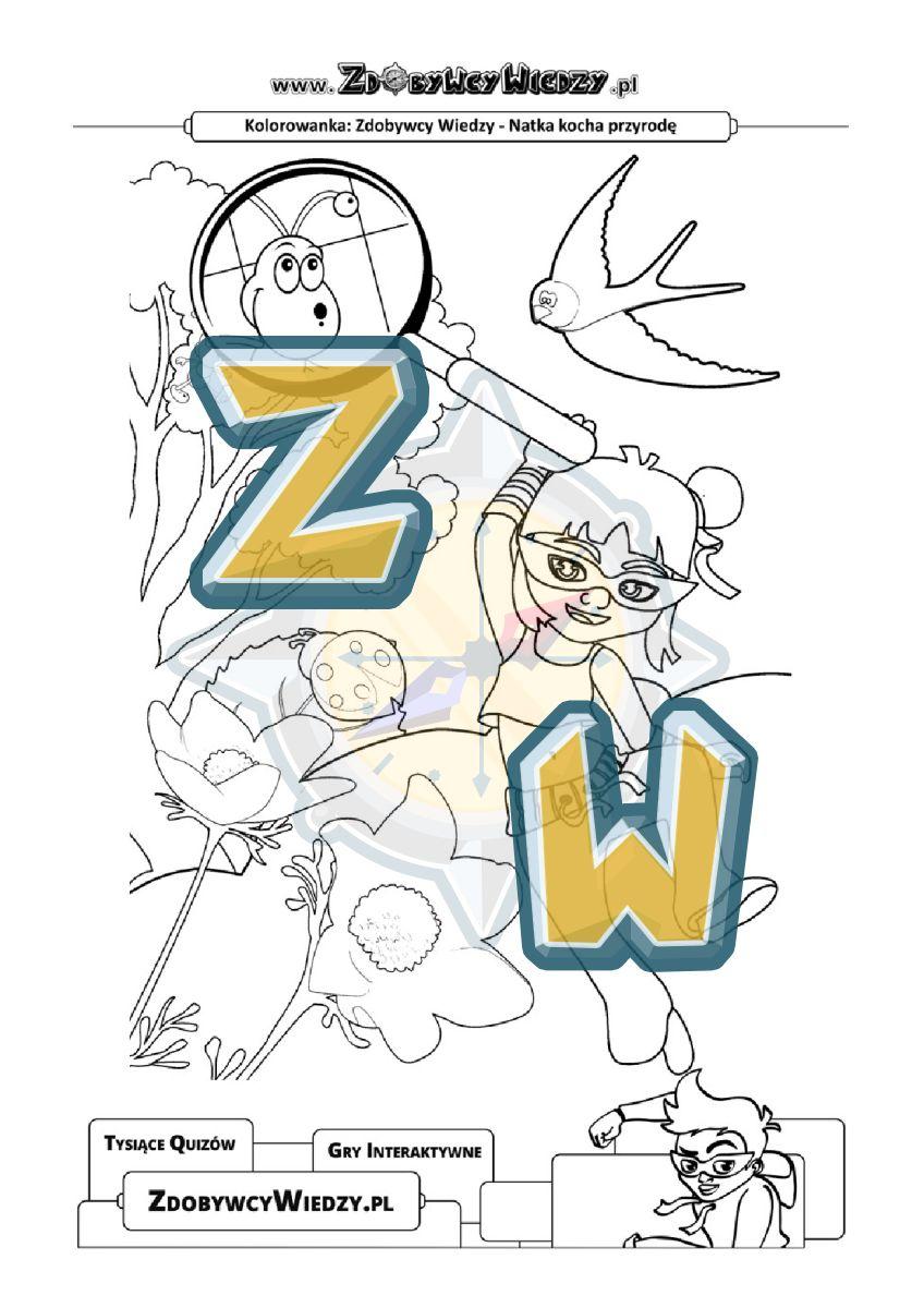 Zdobywcy Wiedzy - karta pracy pdf - Malowanka z Natką - daj ją dziecku, które lubi przyrodę (strona 1)