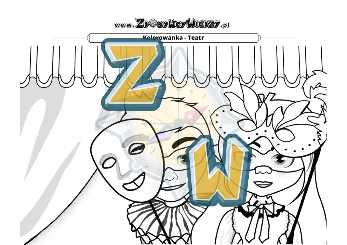 Zdobywcy Wiedzy - karta pracy pdf - Kolorowanka teatr - weź kredki i baw się doskonale! (strona 1)