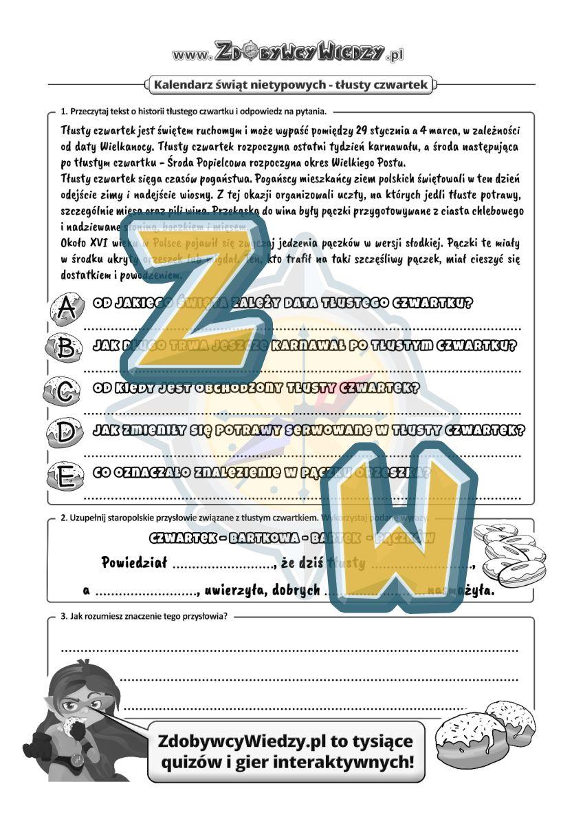 Zdobywcy Wiedzy - karta pracy pdf - Czy pączki w czwartek są słodsze? (strona 1)