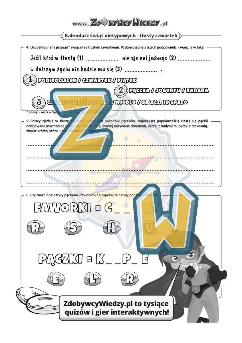 Zdobywcy Wiedzy - karta pracy pdf - Czy pączki w czwartek są słodsze? (strona 2)