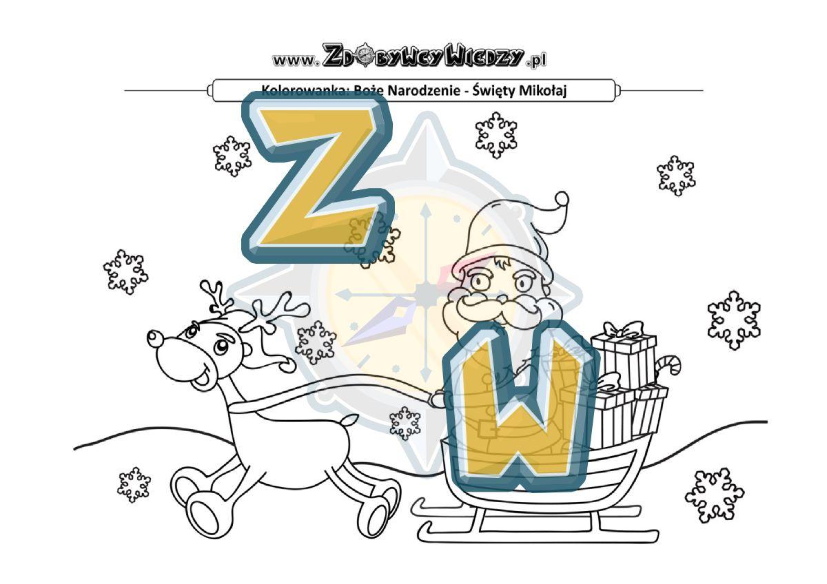 Zdobywcy Wiedzy - karta pracy pdf - Sanie Mikołaja - malowanka rozwijająca talent plastyczny (strona 1)