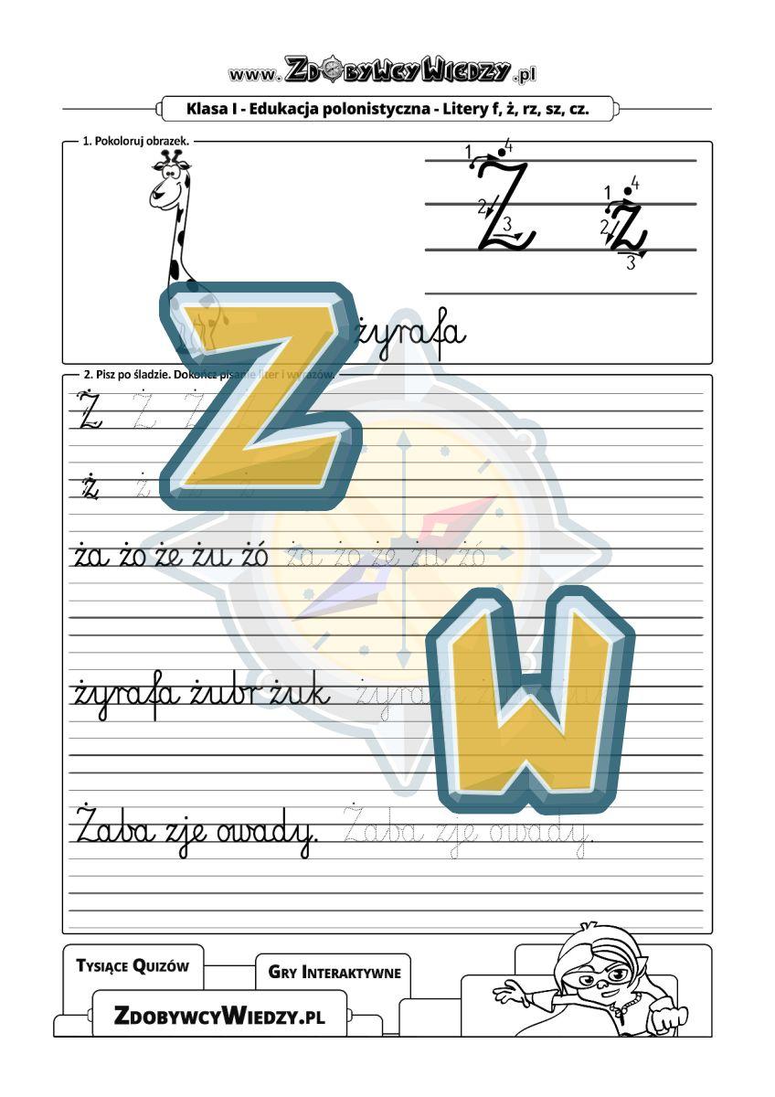 Zdobywcy Wiedzy - karta pracy pdf - Skuteczna i łatwa nauka pisania czcionką szkolną (strona 1)
