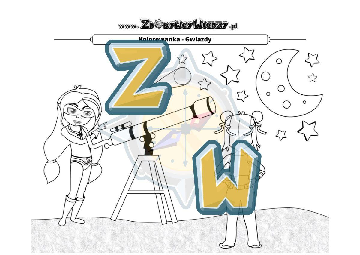 Zdobywcy Wiedzy - karta pracy pdf - Kolorowanka z gwiazdami - pokoloruj na wybrane kolory (strona 1)