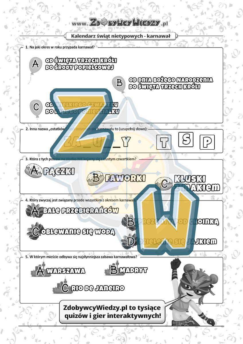 Zdobywcy Wiedzy - karta pracy pdf - Zagadki karnawałowe (strona 1)