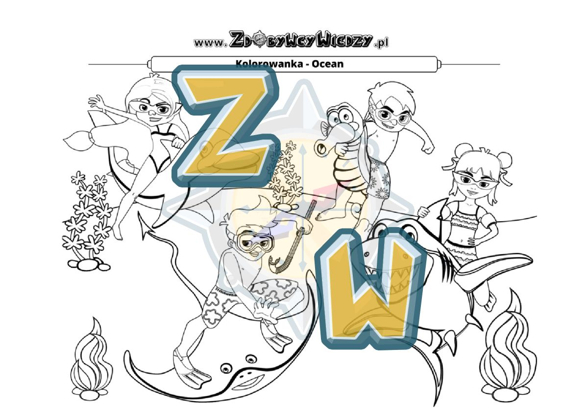 Zdobywcy Wiedzy - karta pracy pdf - Malowanka w formacie pdf, którą warto pobrać dla swojego dziecka (strona 1)