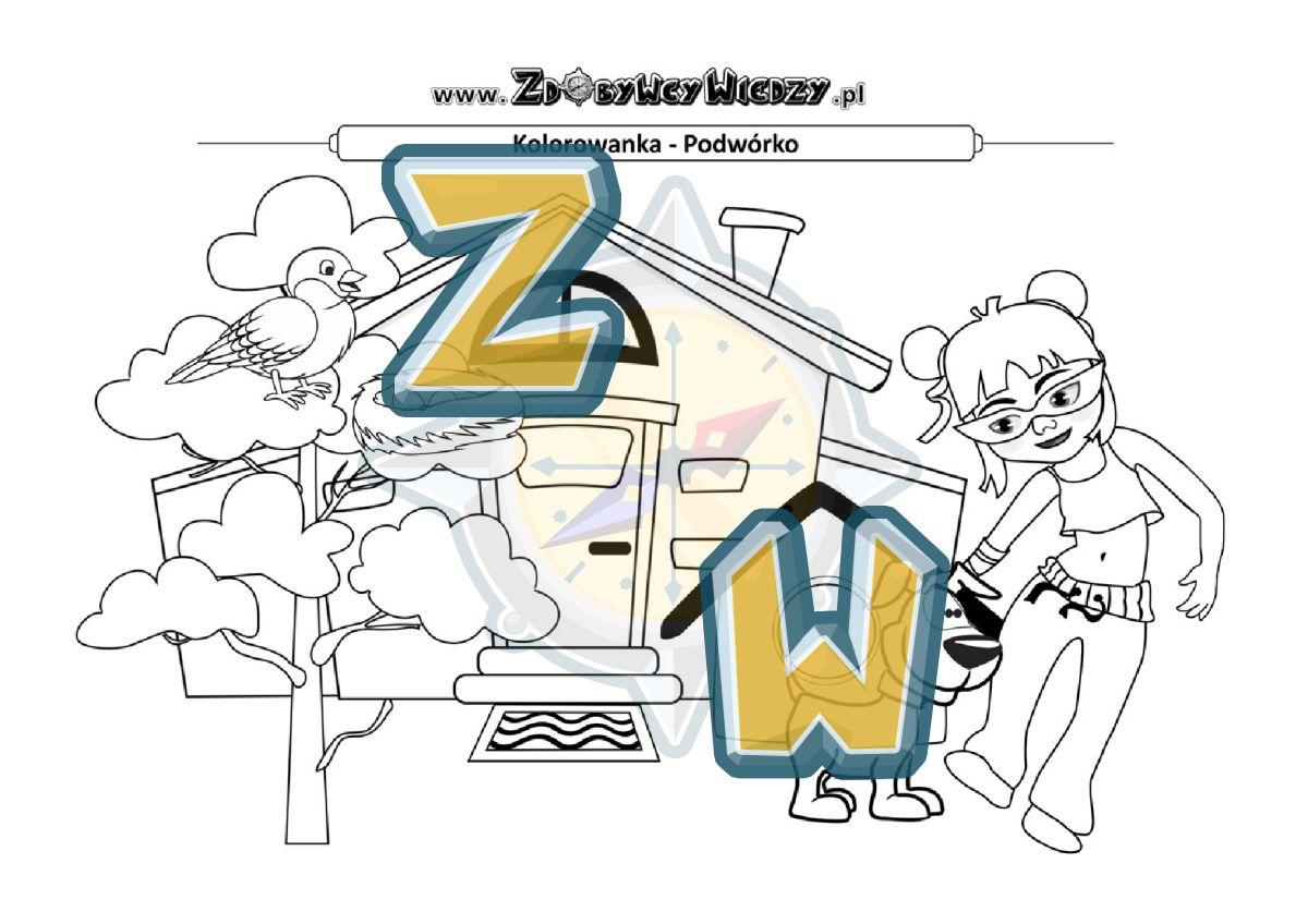 Zdobywcy Wiedzy - karta pracy pdf - Malowanka PDF do pobrania i wydruku (strona 1)