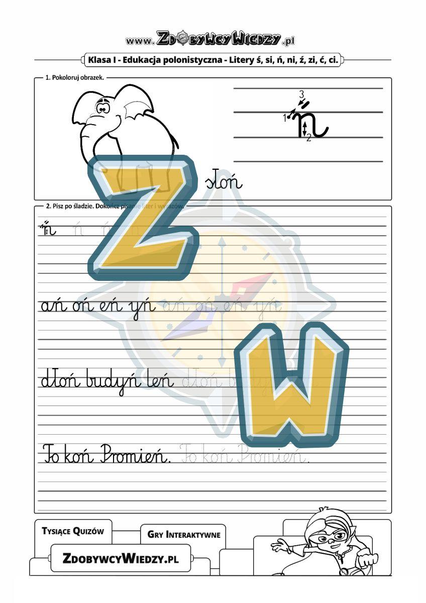Zdobywcy Wiedzy - karta pracy pdf - Kaligrafia, czyli nauka pięknego pisania liter (strona 1)