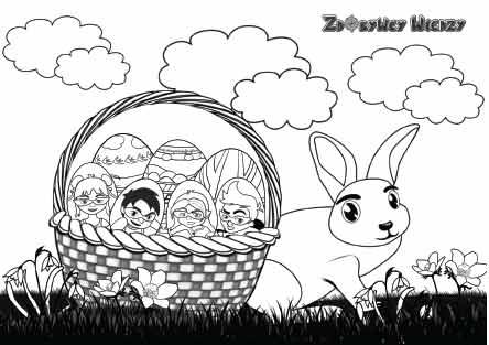 Wielkanocna kolorowanka - Jajeczko, Koszyczek i Króliczek